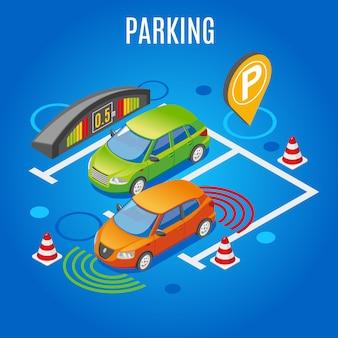 Isometrische parkeren gekleurd
