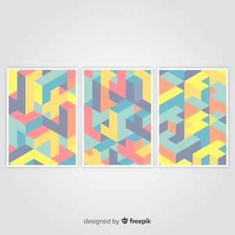 Isometrische patroon brochure sjabloon collectie