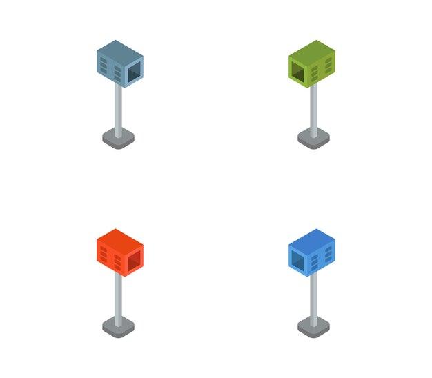 Isometrische pictogram brievenbus set