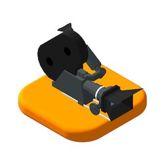 Isometrische pictogram filmcamera. pictogrammen videocamera. geïsoleerde vectorillustratie.