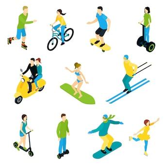 Isometrische pictogram mensen rijden set