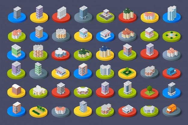 Isometrische pictogram stadsgebouwen
