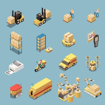 Isometrische pictogrammen instellen met magazijnapparatuur en transport voor goederenlevering geïsoleerd