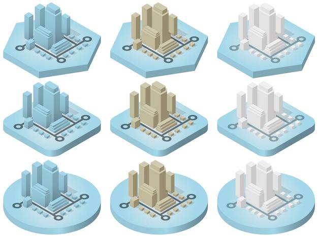 Isometrische pictogrammen van de stad