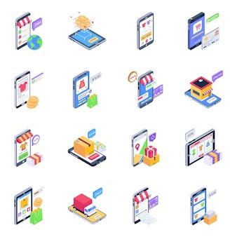 Isometrische pictogrammen van online winkelen