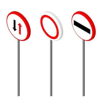 Isometrische pictogrammen verschillende verkeersbord. ontwerp in europese en amerikaanse stijl. vector illustratie eps 10.