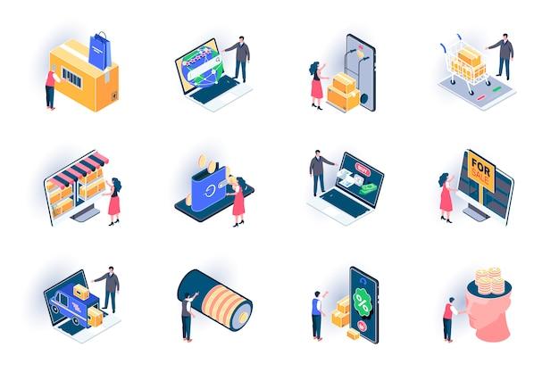 Isometrische pictogrammen voor detailhandeldistributie. online bestelling en aankoop bezorgservice vlakke afbeelding. internet winkelen en creditcard betaling 3d isometrie pictogrammen met personages karakters.