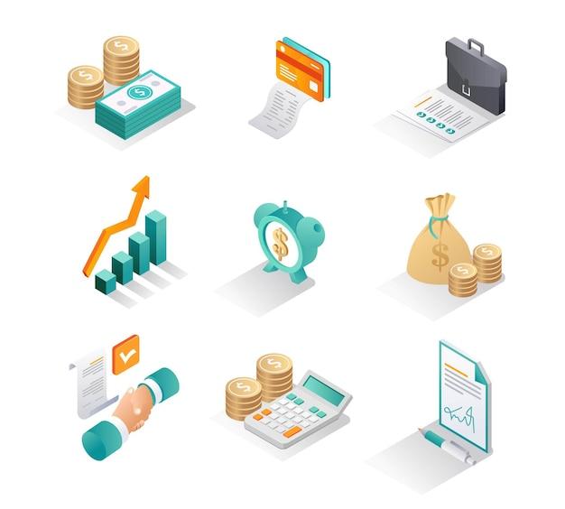 Isometrische pictogrammensets zakelijke en financiële ontwikkelaar