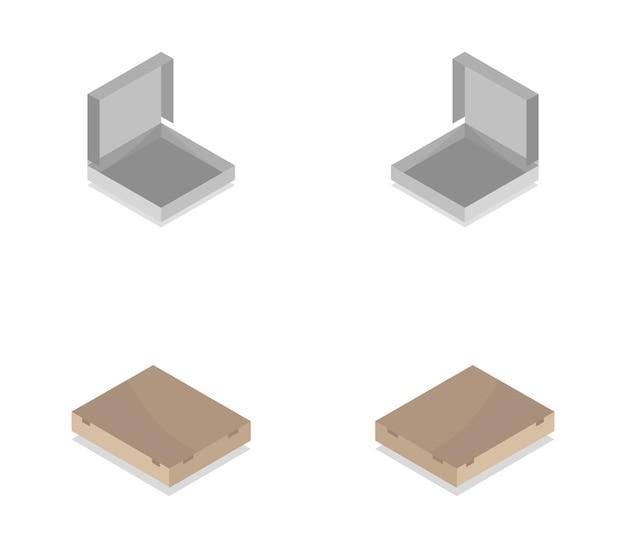 Isometrische pizzadoos set