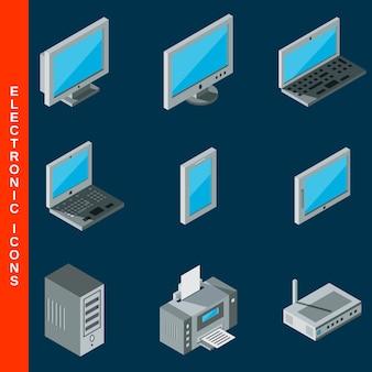 Isometrische platte 3d computer apparatuur pictogrammen instellen