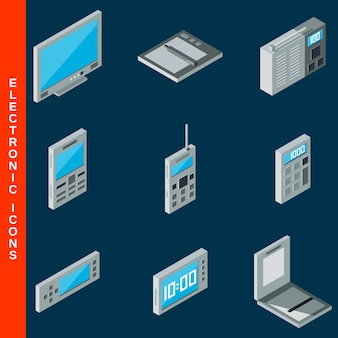 Isometrische platte 3d elektronische apparatuur pictogrammen instellen