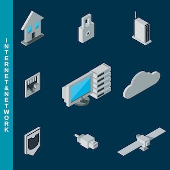 Isometrische platte 3d internet en netwerk apparatuur pictogrammen instellen