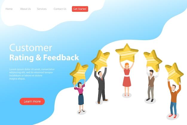 Isometrische platte bestemmingspaginasjabloon van productbeoordeling, feedback van klanten, positieve mening en recensie, online enquête, vijf sterren.