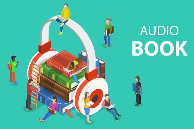 Isometrische platte concept van audioboek, onderwijs, literatuur luisteren.