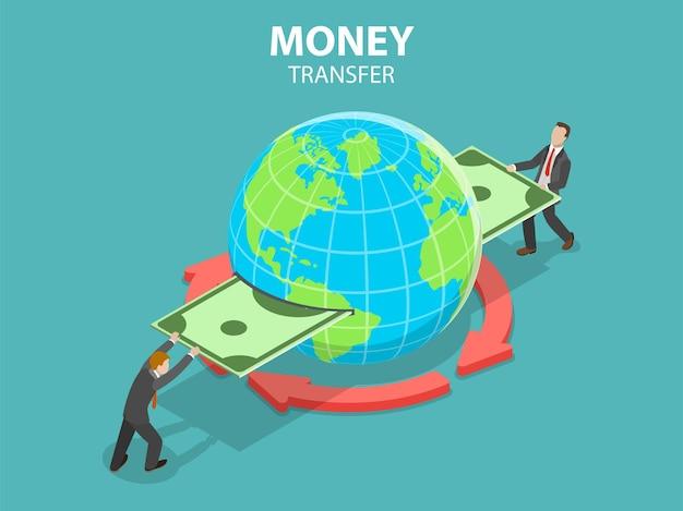 Isometrische platte concept van internationale geldoverdracht, online bankieren, financiële transactie.