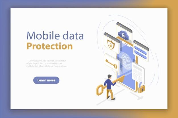 Isometrische platte concept van persoonlijke mobiele gegevensbescherming, antivirus internetbeveiliging.