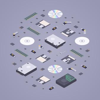 Isometrische platte digitale geheugenopslag