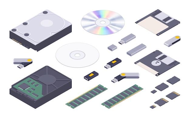 Isometrische platte digitale geheugenopslagset