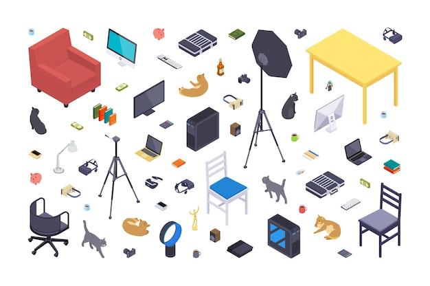 Isometrische platte kantoorartikelen