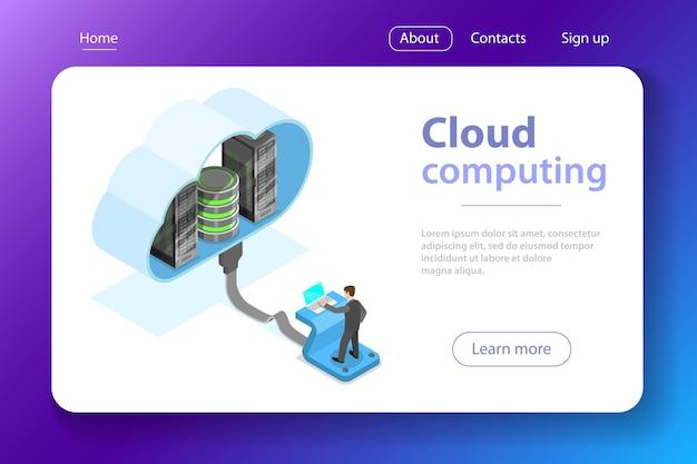 Isometrische platte vector concept van cloud computing-technologie