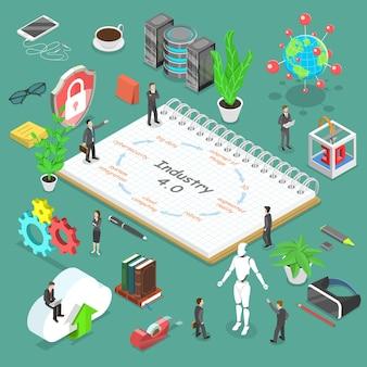 Isometrische platte vector concept van de industrie