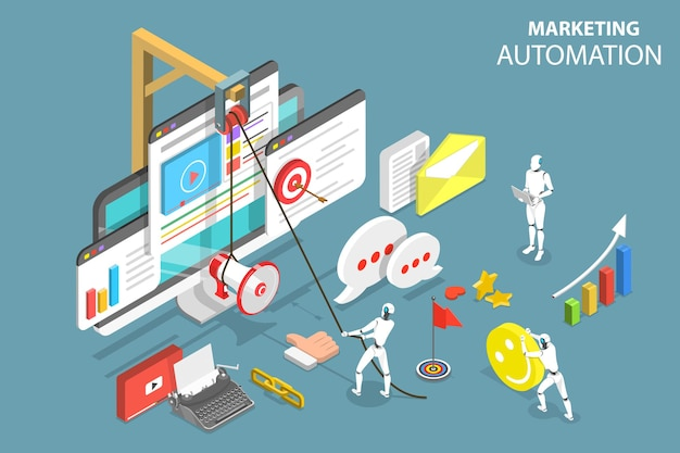 Isometrische platte vector concept van digitale marketing automatisering, social media strategie, ai, chatbot.