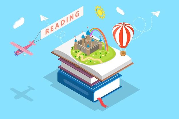 Isometrische platte vector concept van kind lezen, verbeelding, favoriete boek, onderwijs.