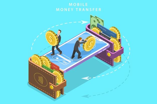 Isometrische platte vector concept van mobiele portemonnee