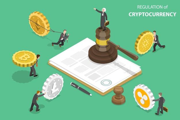 Isometrische platte vector concept van regulering van cryptocurrency