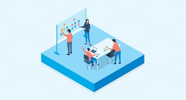 Isometrische platte vector groep zakelijke teambijeenkomst en project brainstormen proces concept