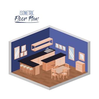 Isometrische plattegrond van brede thuiskeukenruimte
