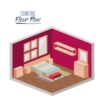 Isometrische plattegrond van de slaapkamer