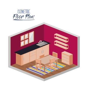 Isometrische plattegrond van keuken en eetkamer