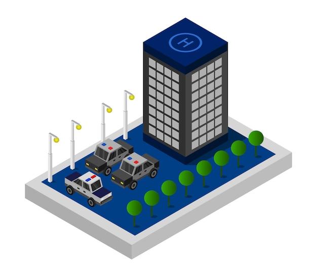 Isometrische politiebureau Premium Vector