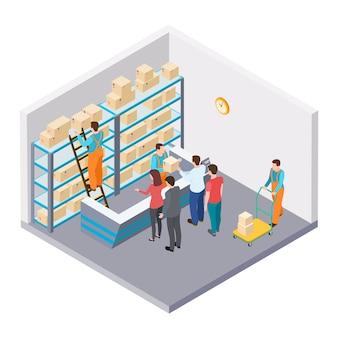 Isometrische post, levering van pakketten concept