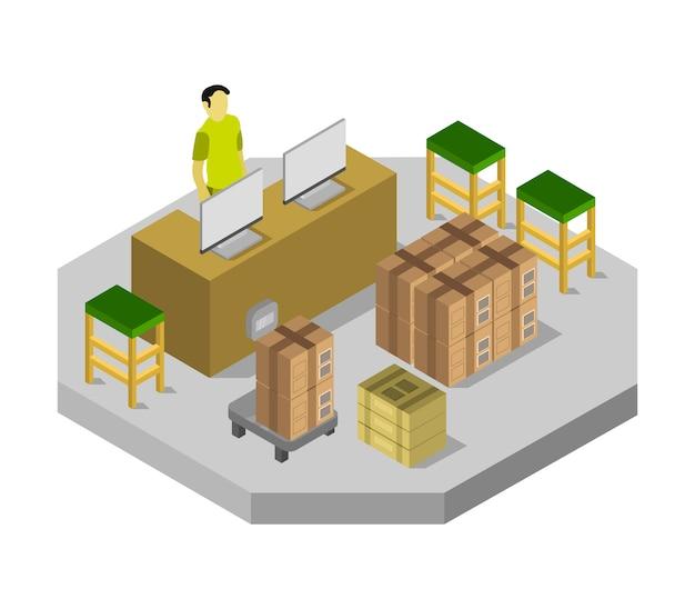Isometrische postkantoor kamer