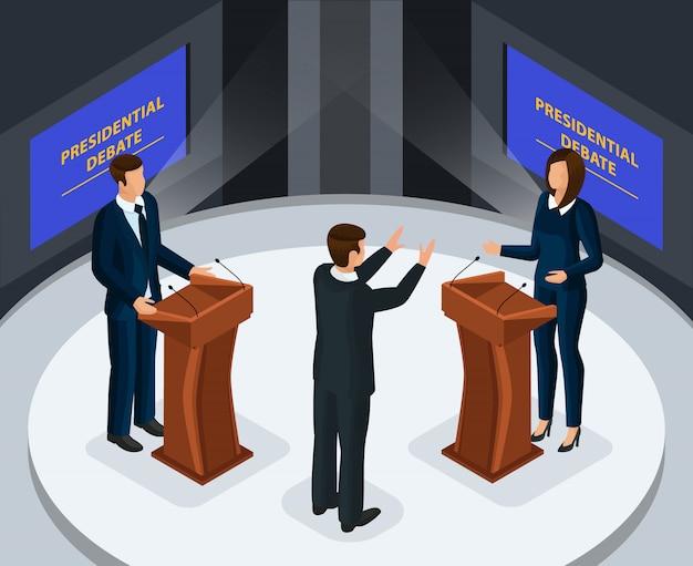 Isometrische presidentiële debatten concept