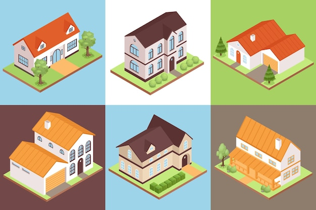 Isometrische privéhuissamenstellingen met gebouwen van verschillende grootte en stijl