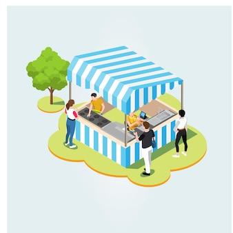 Isometrische product lokale markt. boeren die gezonde natuurlijke landbouwproducten verkopen in containers buiten