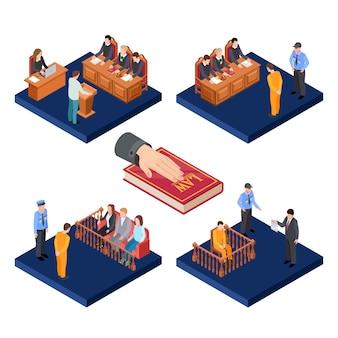 Isometrische proeven vector concept. 3d wet illustratie met gevangenen
