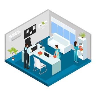 Isometrische professionele schoonmaak dienstverleningsconcept