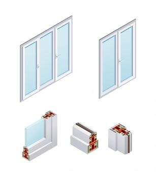 Isometrische pvc-ramen en frame-elementen