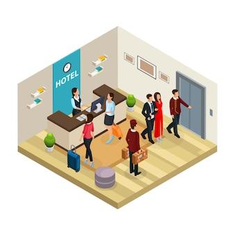 Isometrische receptie hotelconcept met werknemers en receptioniste registreert geïsoleerde bezoekers