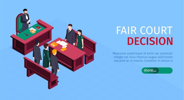 Isometrische rechtvaardigheidswet horizontale banner met meer bewerkbare knoptekst en menselijke karakters van de illustratie van proefdeelnemers