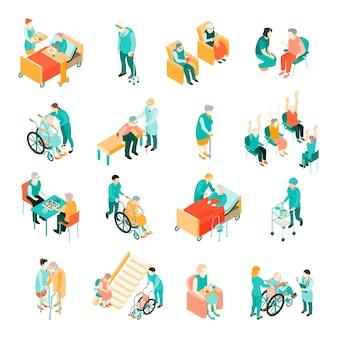 Isometrische reeks bejaarde mensen in verschillende situaties en medisch personeel in geïsoleerd verpleeghuis