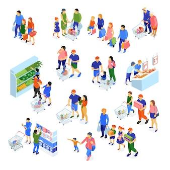 Isometrische reeks gezinnen die het winkelen in supermarkt doen