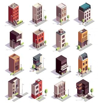 Isometrische reeks herenhuisgebouwen van zestien geïsoleerde kleurrijke gebouwen met meerdere verdiepingen en modern architectuurontwerp