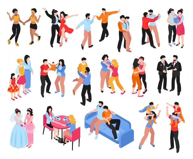 Isometrische reeks pictogrammen met homoseksuele vrolijke en lesbische paren en families met kinderen die op witte 3d worden geïsoleerd