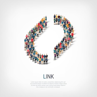 Isometrische reeks stijlen abstract, link, symbool web infographics concept illustratie van een druk vierkant, platte 3d. menigtepuntengroep die een vooraf bepaalde vorm vormt.