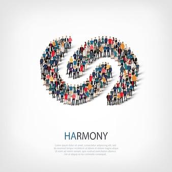 Isometrische reeks stijlen abstract symbool harmonie web infographics concept van een druk plein